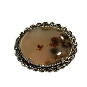 VINTAGE SILVER TONE AGATE BROOCH PIN LS 207